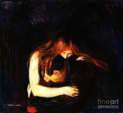 Oil Paining Painting - Vampire Love And Pain by Pg Reproductions