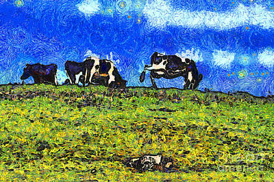 Bay Area Digital Art - Van Gogh Goes Cow Tipping 7d3290 by Wingsdomain Art and Photography