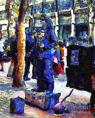 Van Gogh Is Captivated By A San Francisco Street Performer . 7d7246 Print by Wingsdomain Art and Photography