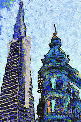 Photograph - Van Gogh Is Mesmerized By The Transamerica Pyramid And The Columbus Tower 7d7433 by Wingsdomain Art and Photography