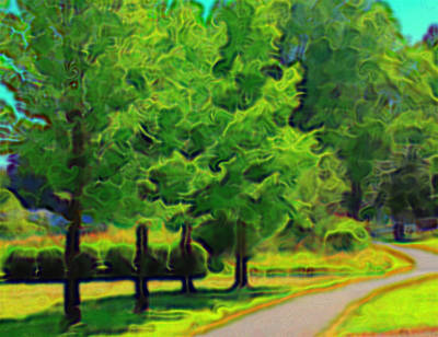 Art Print featuring the mixed media Van Gogh Trees by Terence Morrissey