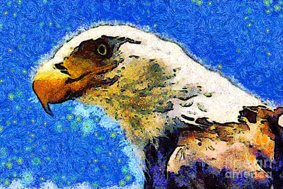 Van Gogh.s American Eagle Under A Starry Night . 40d6715 Art Print by Wingsdomain Art and Photography