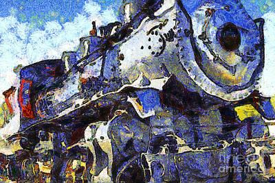 Photograph - Van Gogh.s Steam Locomotive . 7d12980 by Wingsdomain Art and Photography