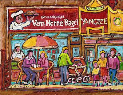 Painting - Van Horne Bagel Next To Yangste Restaurant Montreal Streetscene by Carole Spandau