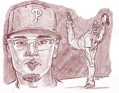 Drawing - Vance Worley- Vanimal by Chris  DelVecchio