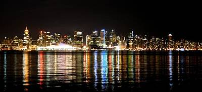 Print featuring the photograph Vancouver Skyline At Night by JM Photography