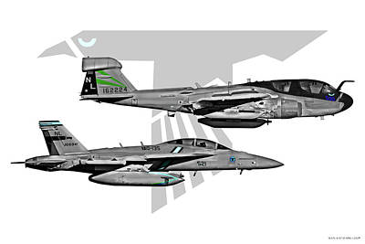Prowler Digital Art - Vaq-135 Prowler And Growler by Clay Greunke