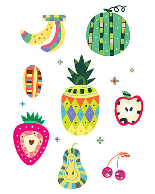 Pineapple Digital Art - Various Kinds Of Fruit by Eastnine Inc.