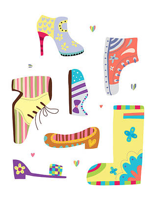 Various Kinds Of Shoes Art Print by Eastnine Inc.