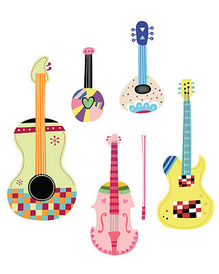 Various Kinds Of Stringed Instruments Art Print by Eastnine Inc.