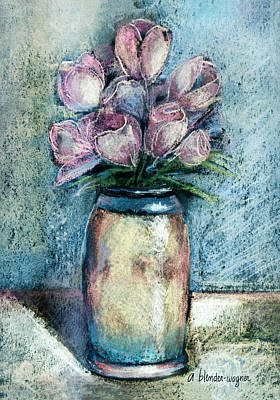 Vase Of Pink Tulips Art Print by Arline Wagner