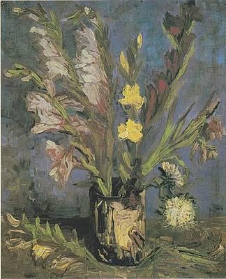 Realist Digital Art - Vase With Gladioli by Vincent Van Gogh