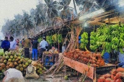 Vegetable Sellers Art Print