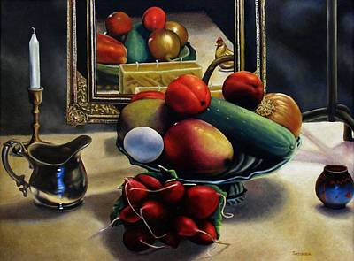 Horn Of Plenty Painting - Vegetable Still Life With Rooster by Ben Saturen