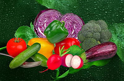 Red Cabbage Photograph - Vegetables by Manfred Lutzius