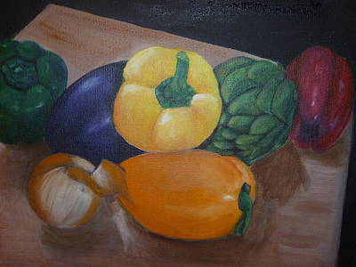 Veggies In Waiting Print by Mary Dunn