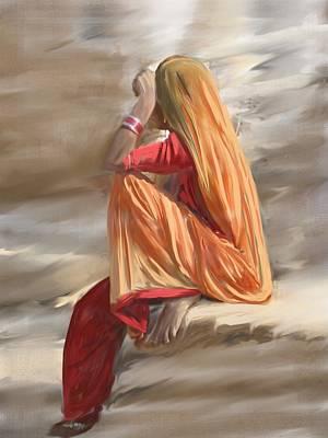 Digital Painting - Veil Woman by Usha Shantharam