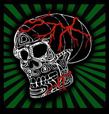 Skulls Digital Art - Veiny Skull by Gabe Arroyo