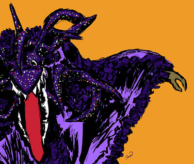 Papier Mache Digital Art - Vejigante Violeta by Yiries Saad