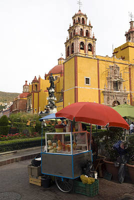 Vending Cart Outside Of The Basilica De Print by Krista Rossow