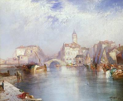 River View Painting - Venetian Canal by Thomas Moran