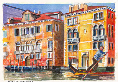 Veneto Gondolier On The Grand Canal In Venice Italy Art Print by Dai Wynn