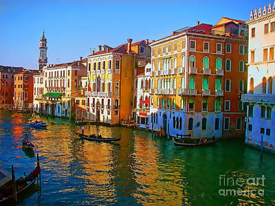 Mixed Media - Venice - Central Canal by Jerry L Barrett