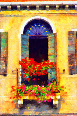 Rossidis Painting - Venice Balcony by George Rossidis