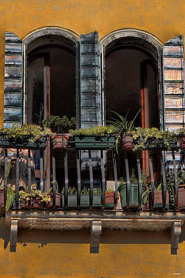 The Grand Place Photograph - Venice Balcony by Tom Prendergast