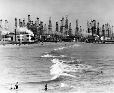 Venice Beach View Of Oil Derricks. Two Art Print by Everett