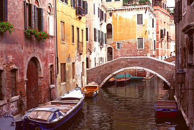 Venice Bridge Over A Small Canal. Art Print by Tom Wurl