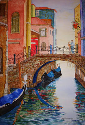 Art Print featuring the painting Venice Canal by Joy Braverman