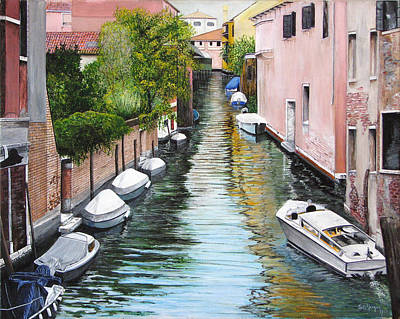 Art Print featuring the painting Venice Canal by Stuart B Yaeger