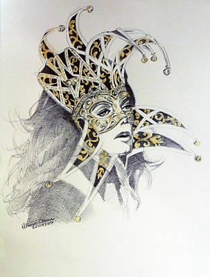 Fan Art Painting - Venice Carnival Mask by Hitomi Osanai