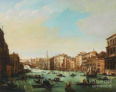 Ponte Rialto Painting - Venice Grand Canal At Ponte Rialto by Pg Reproductions