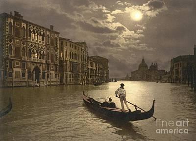 Venice Grand Canal By Moonlight Art Print