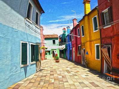 Painting - Venice Italy - Burano Island Alley by Gregory Dyer