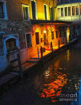 Venice Italy - Canal At Night Art Print by Gregory Dyer