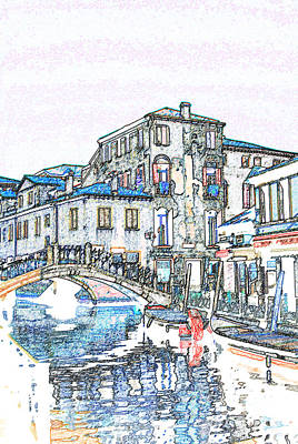 Pop Art Rights Managed Images - Venice Italy Canal Scene Royalty-Free Image by Eva Kaufman