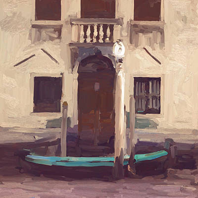 Boat Painting - Venice by Nop Briex