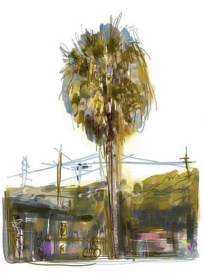 Telephone Poles Mixed Media - Venice Palm Tree by Russell Pierce