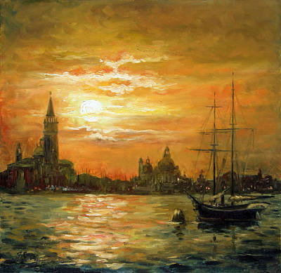 Sunset Painting - Venice Sunset - San Giorgio by Irek Szelag