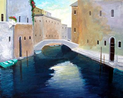 Art Print featuring the painting Venice Water Dance  by Larry Cirigliano