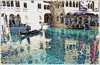 Reflecting Water Digital Art - Ventian Hotel In Las Vegas  by Susan Stone
