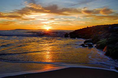 Ventura Beach Sunset Art Print by Lynn Bauer