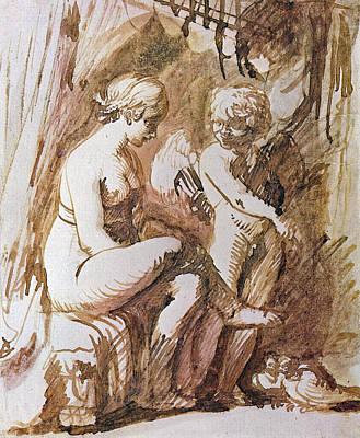 Venus Drawing - Venus And Cupid Drawing by