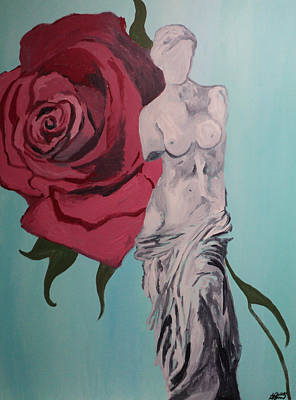 Painting - Venus De Milo With Red Rose by Angelo Thomas