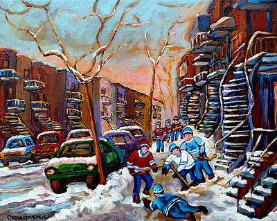 Of Verdun Montreal Winter Street Scenes Montreal Art Carole Painting - Verdun Montreal Hockey Game Near Winding Staircases And Row Houses Montreal Winter Scene by Carole Spandau