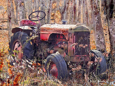 Photograph - Vermont Farm Antique Tractor  by Bob and Nadine Johnston