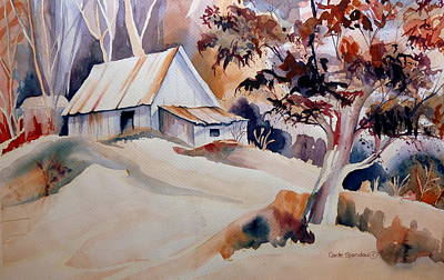 Vermont Sugar Shack Cabin In Winter Art Print by Carole Spandau